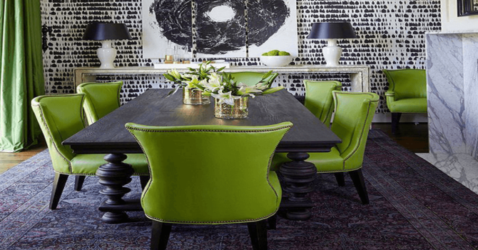 Colour Trends For the Summer: Modern Chairs 2018 colour trends Colour Trends For the Summer: Modern Chairs 2018 dining room with lime green chairs black white wallpaper pantone greenery