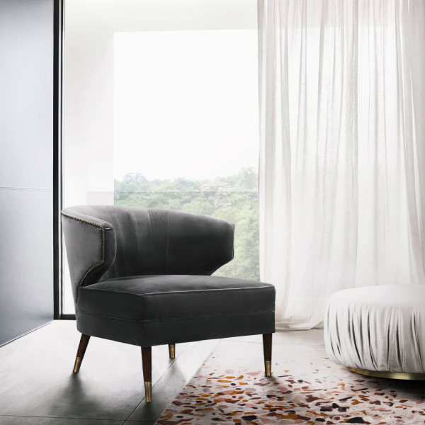 modern armchairs Modern Armchairs That Will Elevate Your Bedroom BB IBIS ARMCHAIR  TERRAZZO Rug  ELLA PUFF