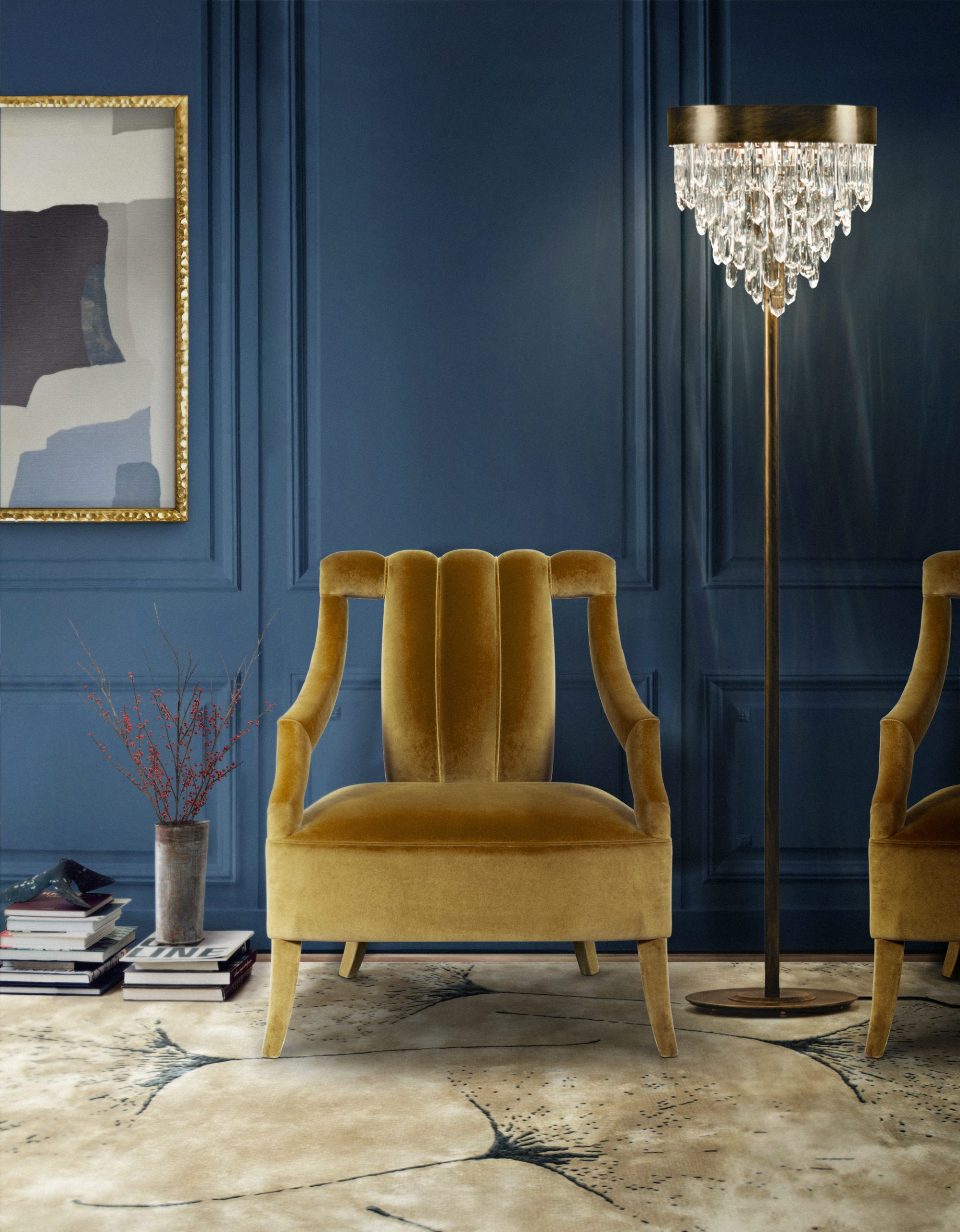 Yellow Chairs: Modern Design That Will Light Up Your House  yellow chairs Yellow Chairs: Modern Design That Will Light Up Your House Cayo Armchair  Nicca Floor Light scaled