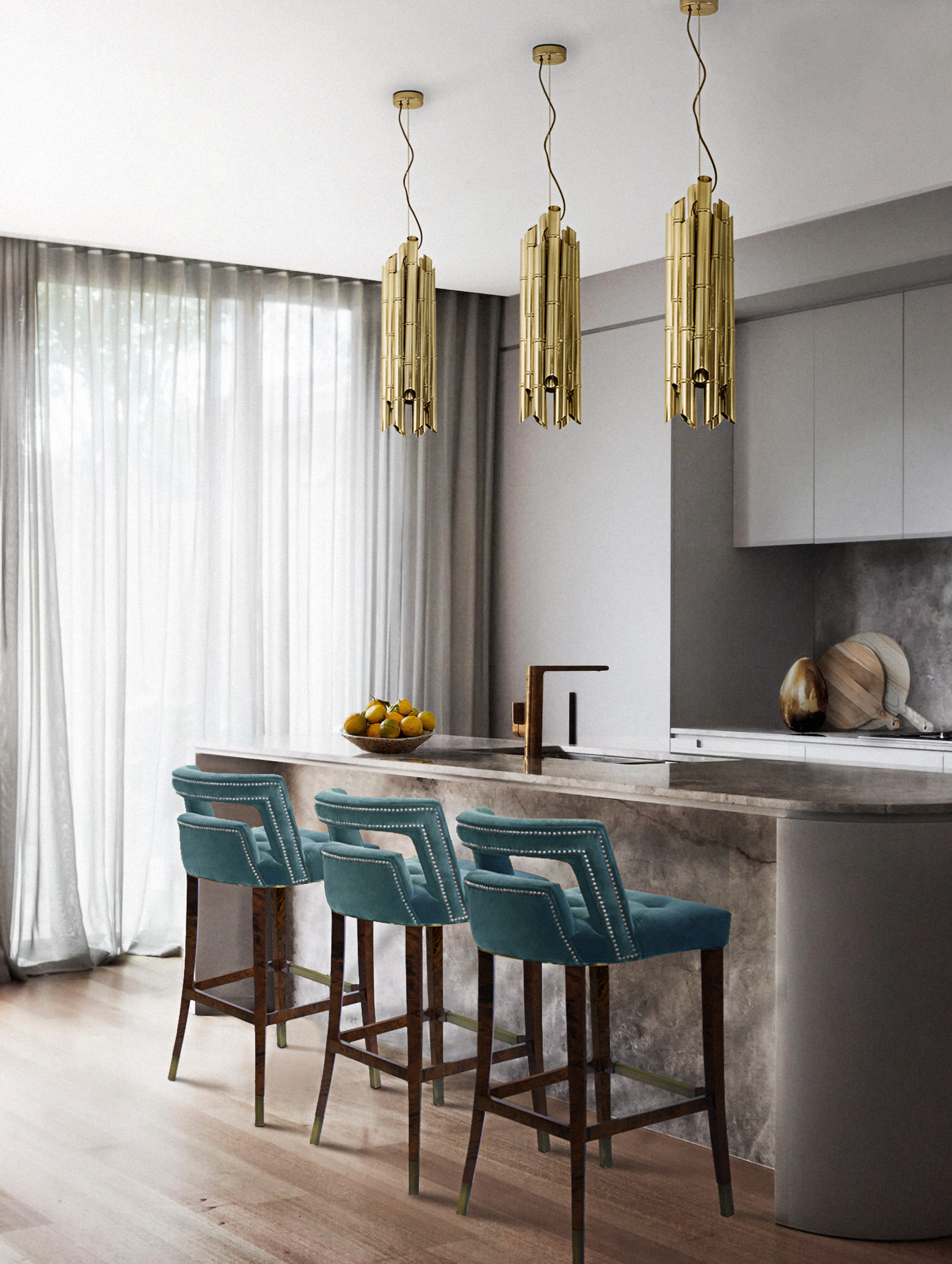 Blue Chairs: Modern and Comfortable Design For Every Room blue chairs Blue Chairs: Modern and Comfortable Design For Every Room Naj barchair Saki pendant