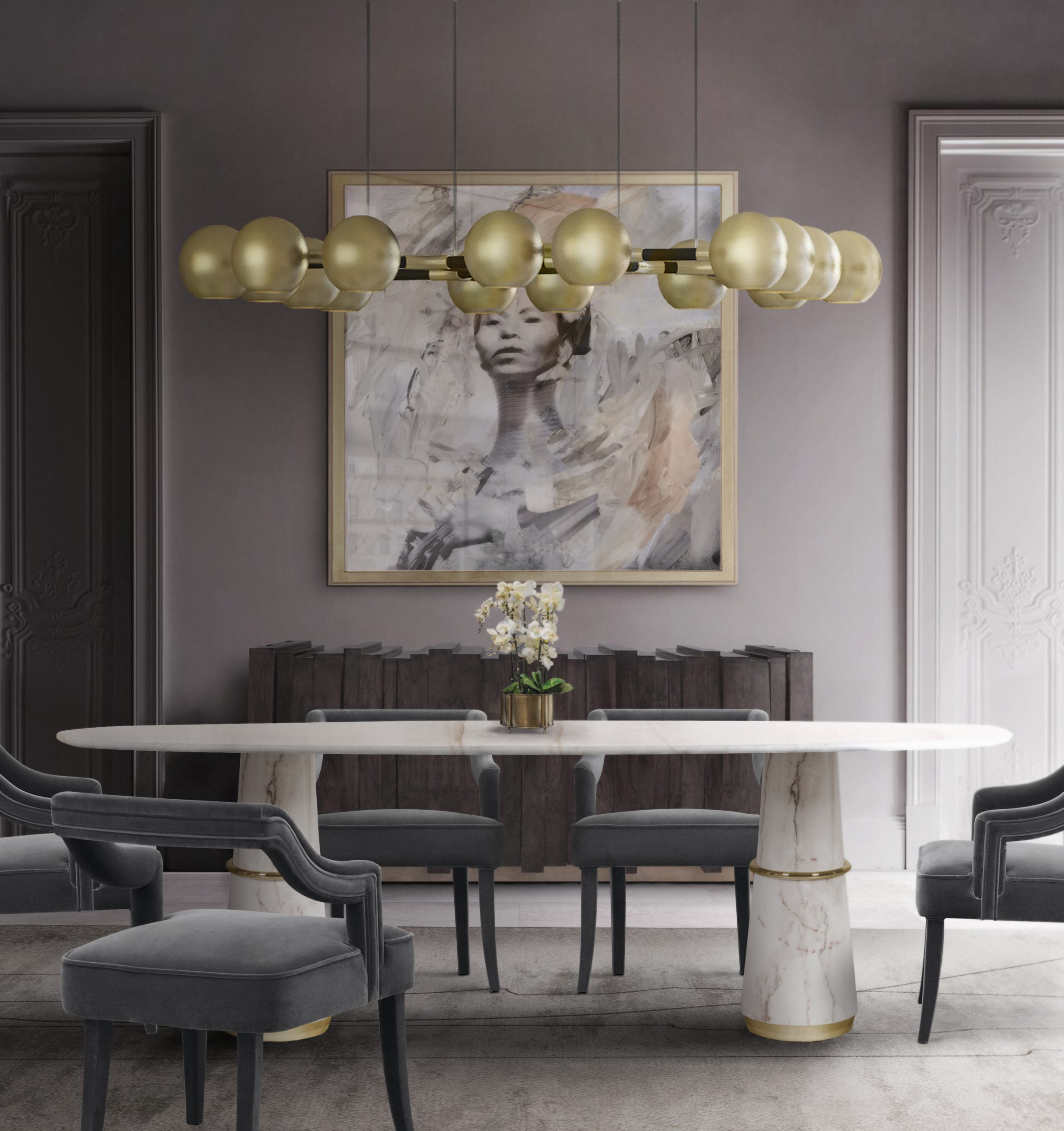 20 Dining Chairs You Will Need For A Modern Dining Room dining chairs 20 Dining Chairs You Will Need For A Modern Dining Room Agra Dining Table II  Horus Suspension Light  Oka Dining Chair  Kalina Rug scaled